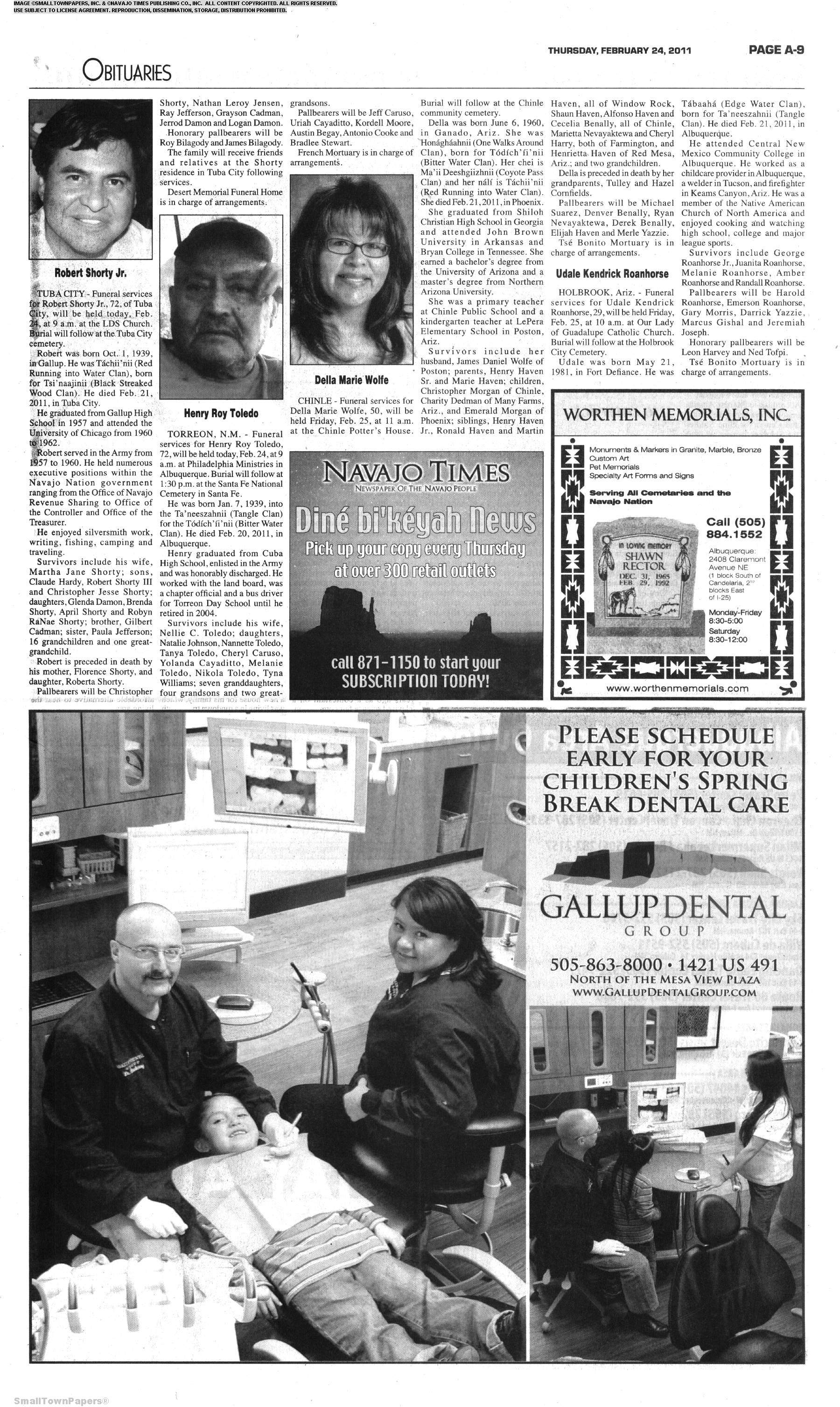 Navajo Times February 24, 2011: Page 9
